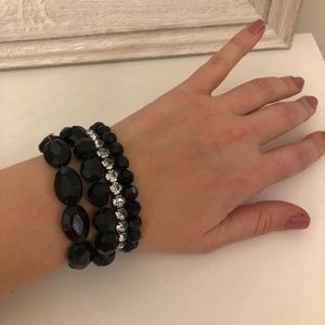 Black and crystal beaded bracelet bangle set